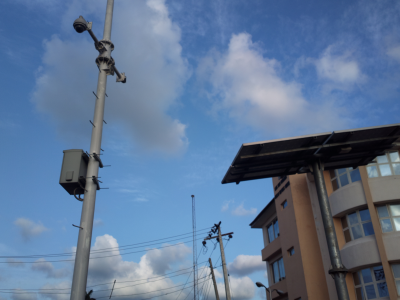 Solar powered street cameras for monitoring traffic.